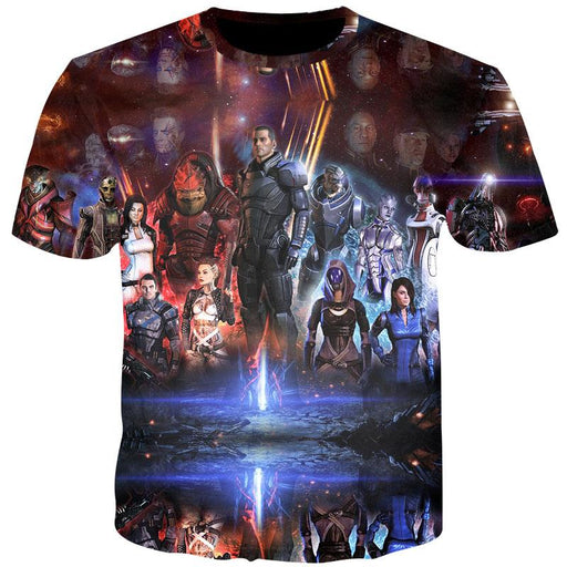 Mass Effect Galactic War Characters Dope Print Gaming T-Shirt