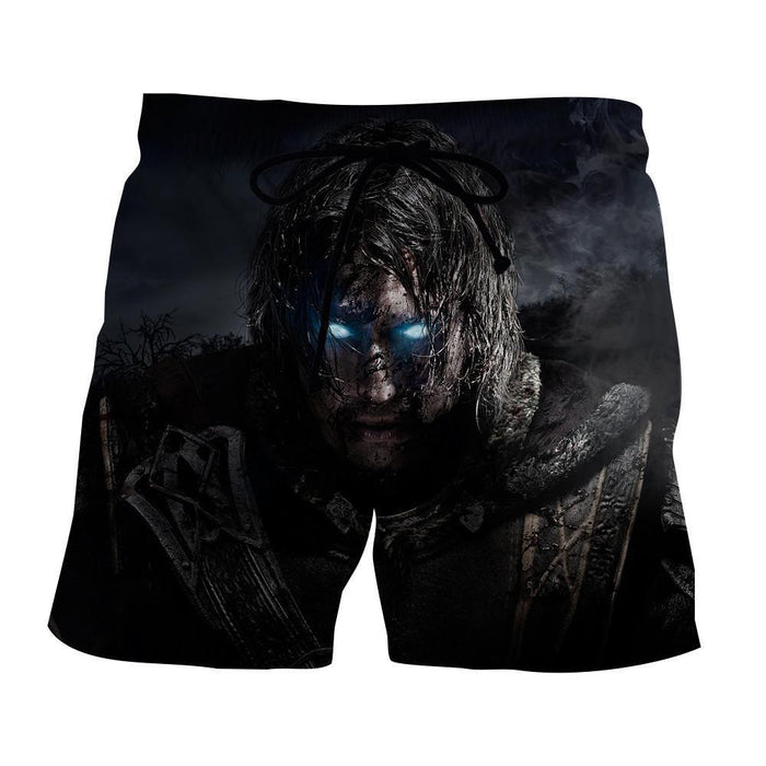 Middle Earth Shadow of Mordor Poster Full Print Beach Shorts