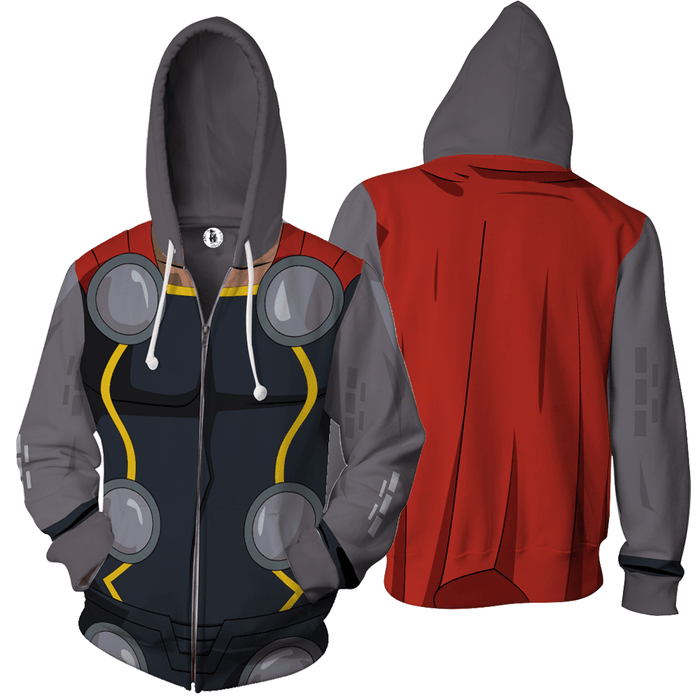 Mighty Thor The Avengers Armor Cosplay 3D Zip Up Hoodie