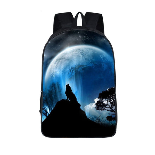 Nocturnal Lone Wolf Howling Under The Big Blue Moon Backpack