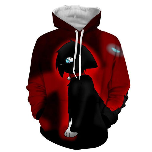 One Eye Cat Cartoon Drawing Scaring Anime Style Hoodie