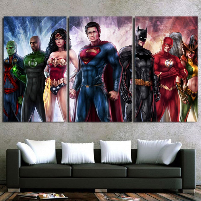 One Team Amazing Justice League 3pcs Canvas Print
