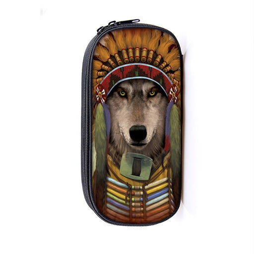 Pleasing Native American Dressed Wolf Serious Look Pencil Case