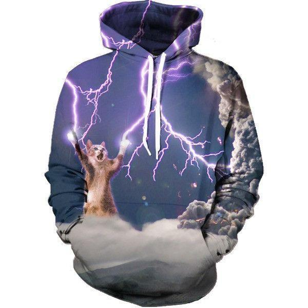 e877686a Powerful Cat Control Thunderstorm Cloudy Trendy Full Lightning Hoodie