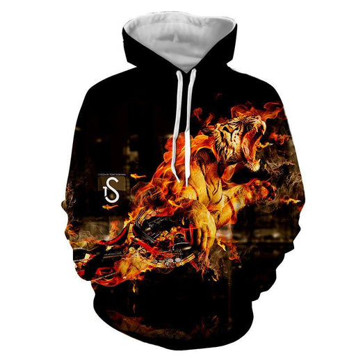 Powerful Tiger In Fire Extraordinary Print Streetstyle Hoodie
