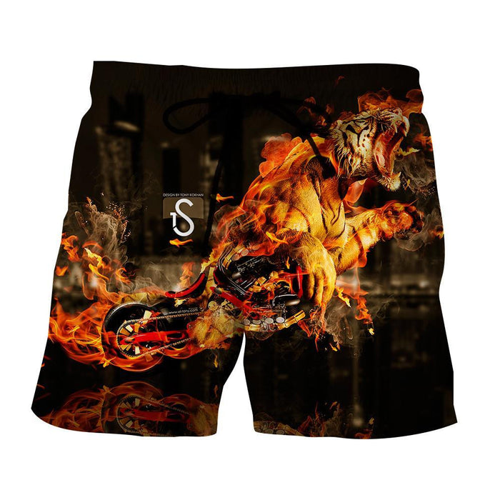 Powerful Tiger In Fire Extraordinary Print Streetstyle Shorts