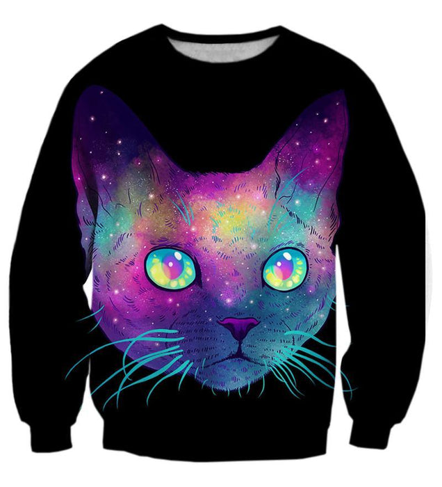 Psychedelic Cat Face Art IIlustration Vibrant 3D Outerwear Sweatshirt - Woof Apparel