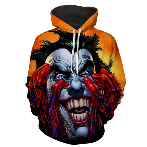 Psychopathic Evil Laugh Villain Joker Print Orange Hoodie