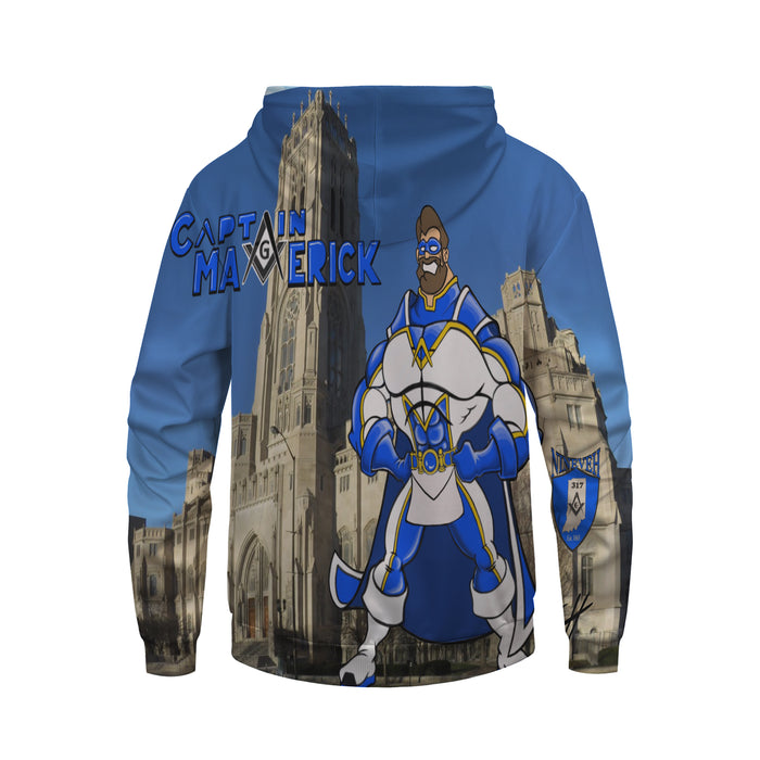 Awesome Comic Captain Maverick In The City Blue Hoodie
