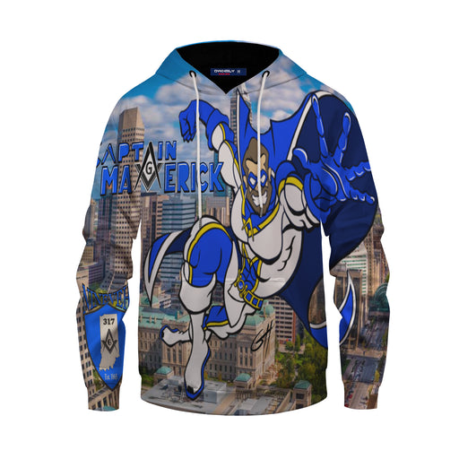Awesome Comic Captain Maverick In The City Multicolored Hoodie