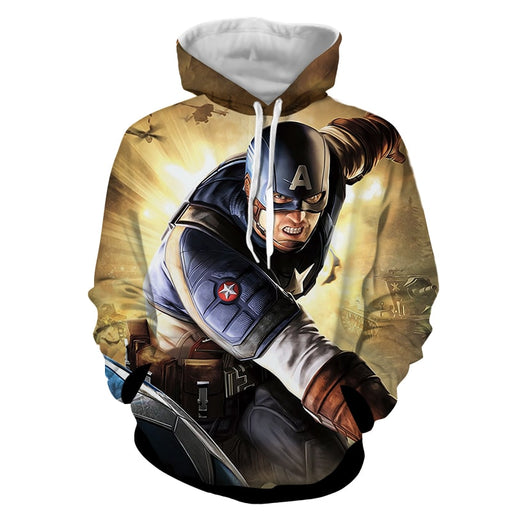 Real Brave Captain America On Fight Scene Yellow Hoodie