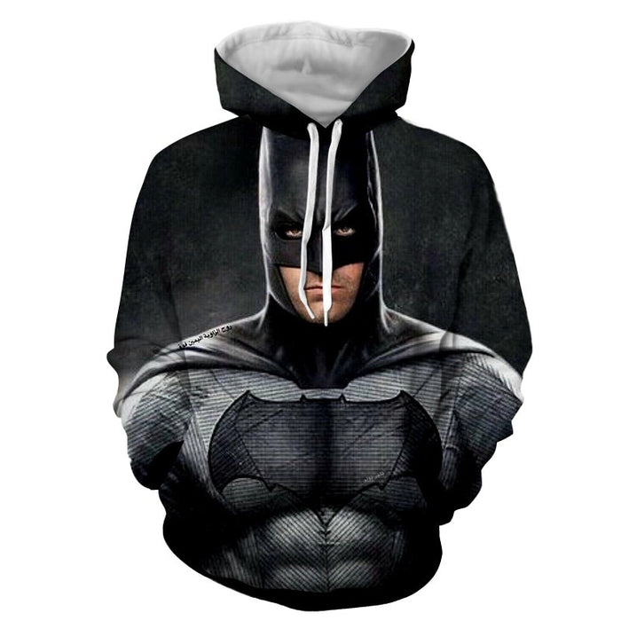 Realistic Batman Portrait In Cool Full Print Black Hoodie