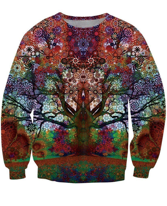 Reflection Illusion Art Magic Color Vibrant Blooming Tree Vintage Theme Sweatshirt - Woof Apparel