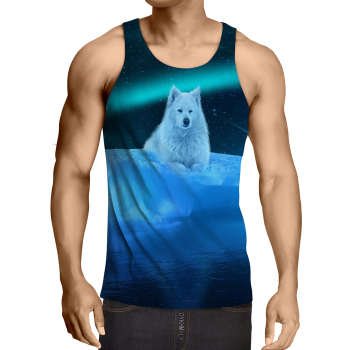 Resting White Wolf Snow Bed Vibrant Design Blue Tank Top