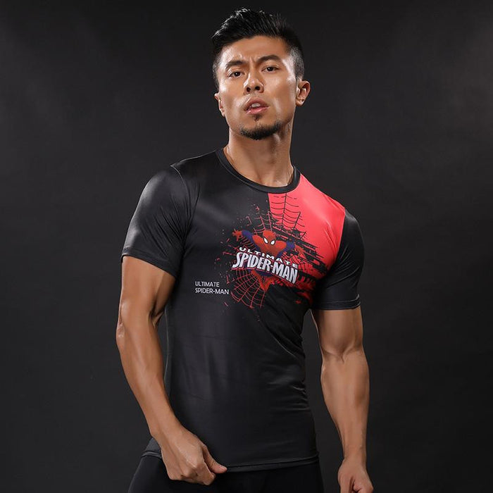 Small Spiderman Symbol Featuring Compression Short Sleeves Gym T-shirt - Superheroes Gears
