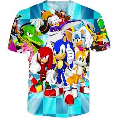 Sonic The Hedgehog Video Game Characters Design T Shirt Superheroes Gears