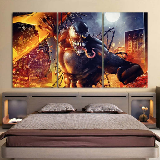 Venom Fight With Carnage 3pcs Wall Art Canvas Print