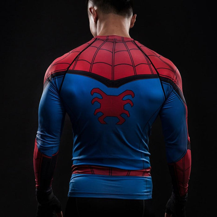 Spider-man Inspired Compression Raglan Long Sleeves Workout T-shirt - Superheroes Gears