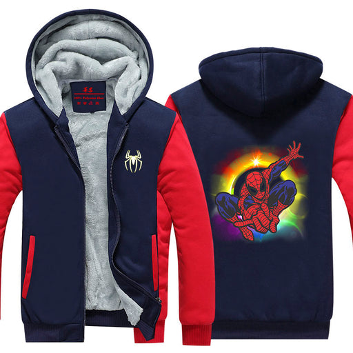 Spiderman Cute Character Colourful Vibrant Hooded Jacket - Superheroes Gears