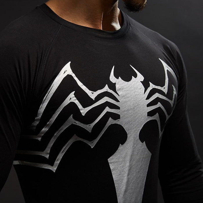 Spiderman Featuring Symbol In Black White Edition Compression Training T-shirt