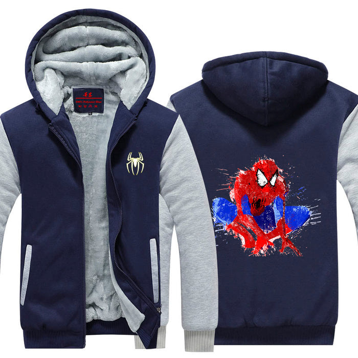Spiderman Sitting Colorful Painting Impressive Hooded Jacket
