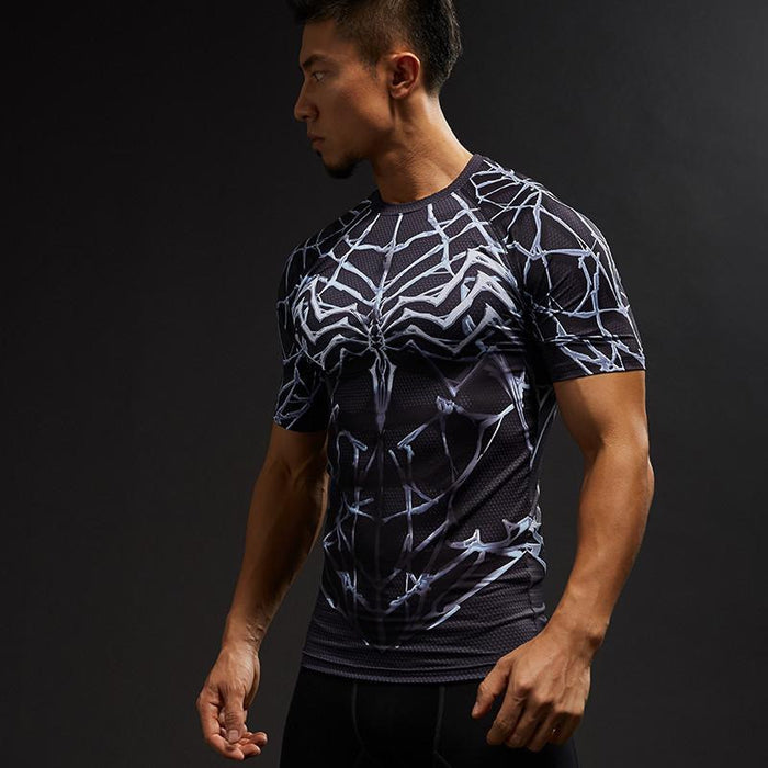 Spiderman Spider Web Cool Design Compression Short Sleeves Running T-shirt