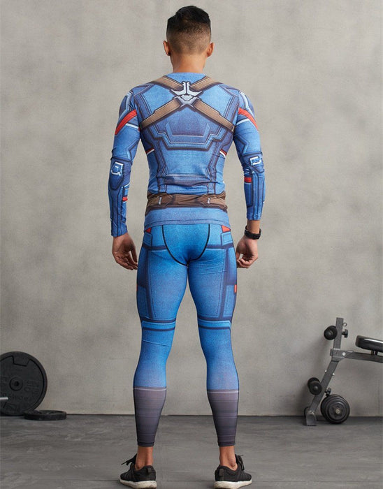 Sporty Captain America Men Compression Unique Design Training Leggings