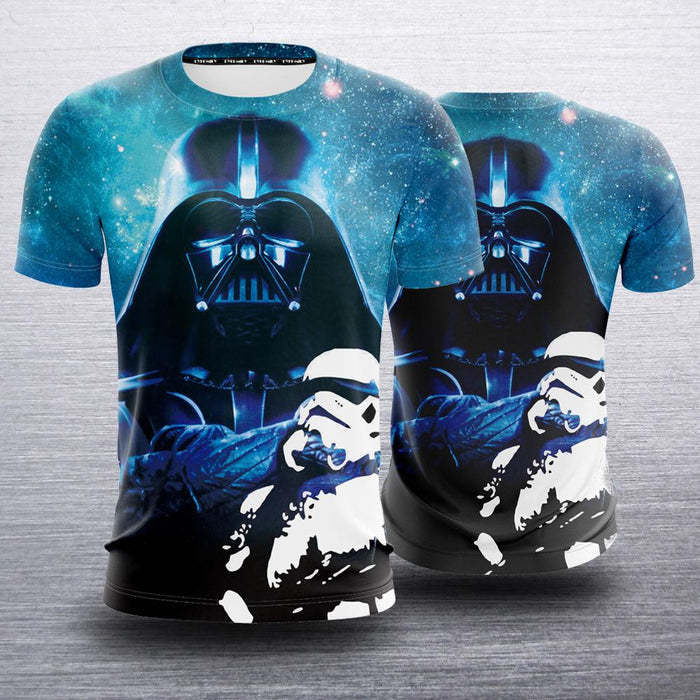 Star Wars Darth Vader & Stormtrooper Design Blue T-Shirt