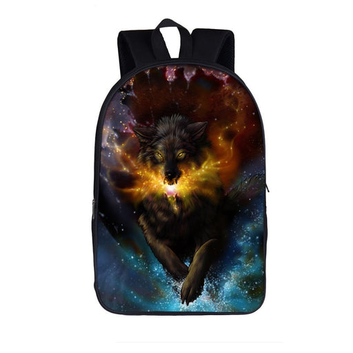 Stunning Black Lone Wolf Emanate Magical Breath Backpack