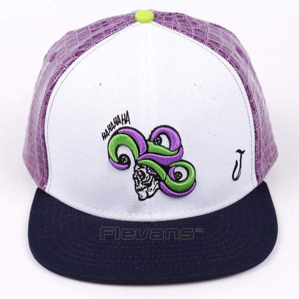 Suicide Squad The Laughing Joker White And Black Snapback Hat Cap