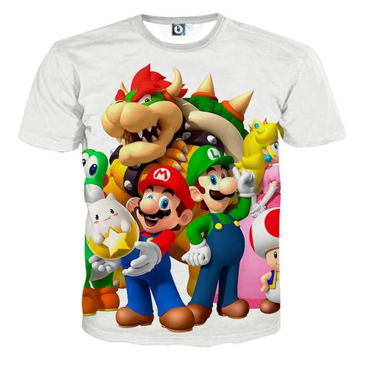 Super Mario Bros Luigi Bowser Peach Princess Simple T-Shirt