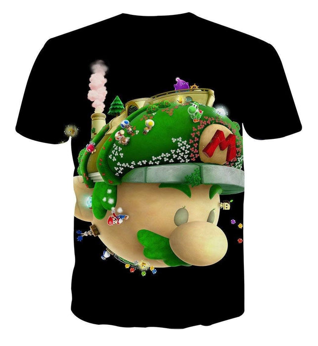 Super Mario Head Nintendo 3DS Gaming Design T-Shirt