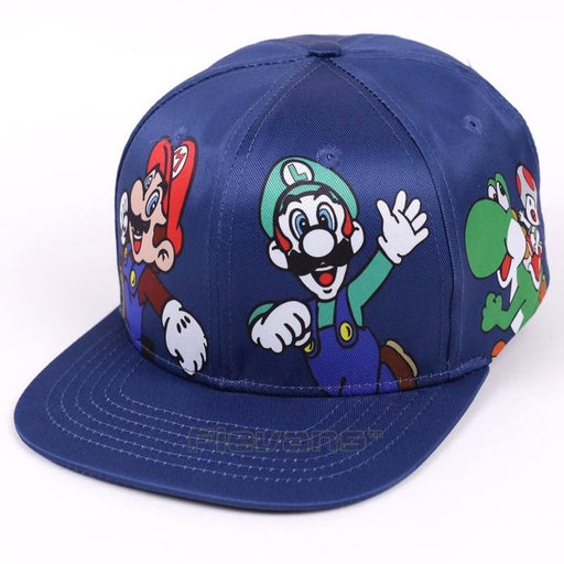 Super Mario Luigi And Mario Blue Streetwear Baseball Hat Cap