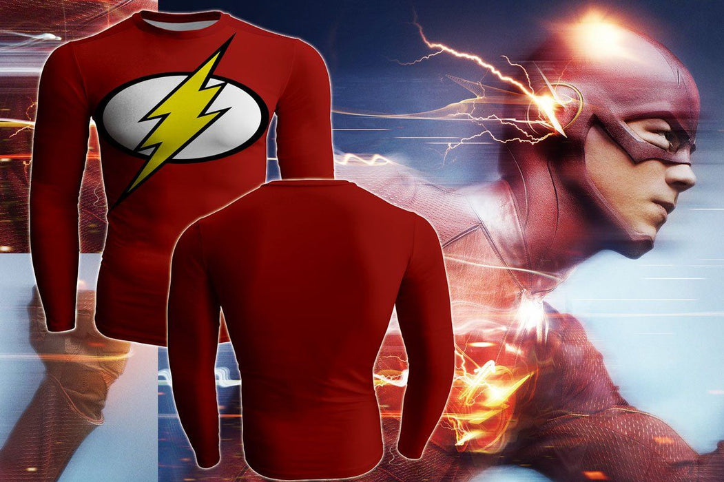 Superhero DC Flash Long Sleeves 3D Compression T-shirt