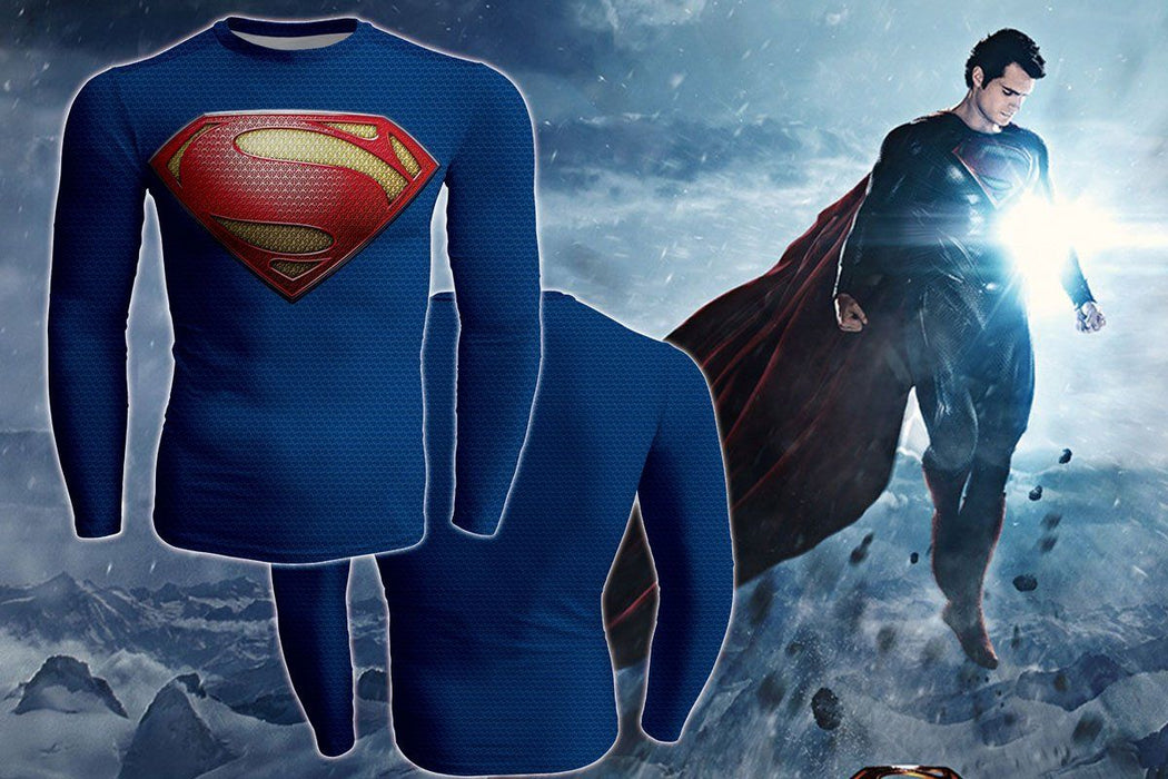 Superhero DC Superman Long Sleeves 3D Print Workout T-shirt