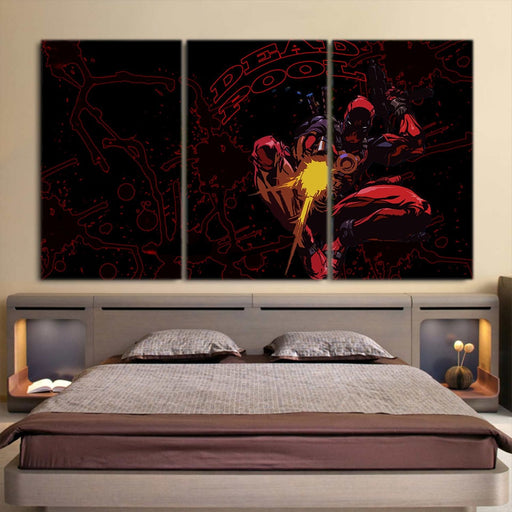 Superhero Deadpool Fighting Battles 3pcs Wall Canvas Print