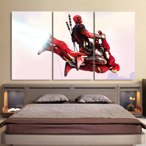 Superhero Deadpool Riding The Wicked 3pcs Wall Canvas Print