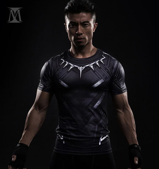 Superheroes Marvel Black Panther 3D Printed Compression Fitness T-shirt