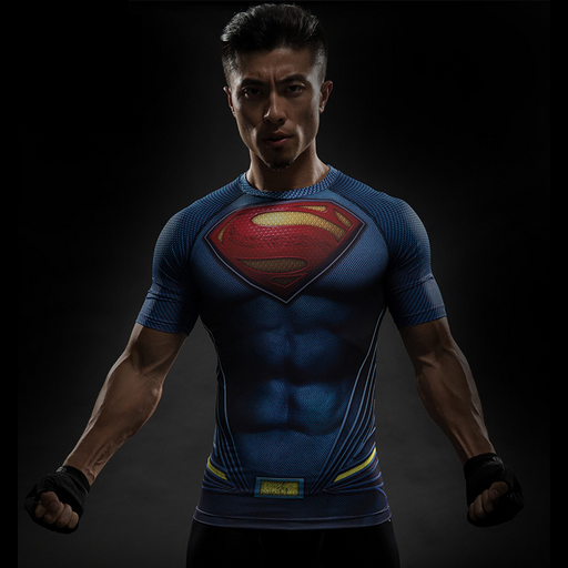 Men/'s Marvel Superhero Compression T-shirt Short Sleeve Sport Fitness Slim Tops