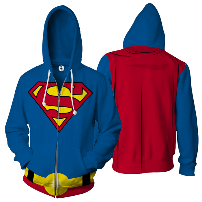 Superman Hero Blue Costume 3D Cosplay Zip Up Hoodie