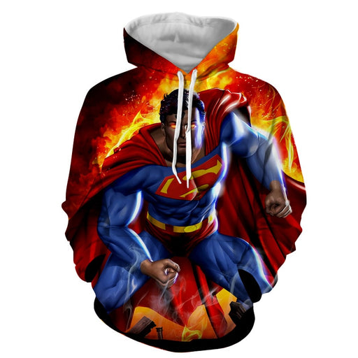Superman Is On Fire Unique Design Full Print Hoodie