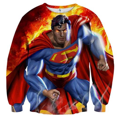 Superman Is On Fire Unique Design Full Print Sweatshirt