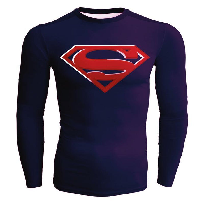 Superman Long Sleeves Full Print Cool Compression T-shirt