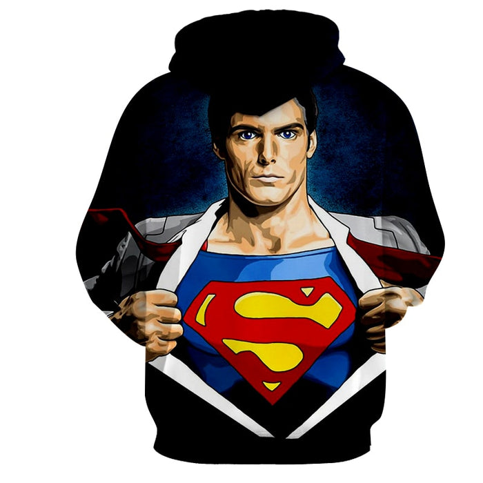 Superman Wide Chest Cool Comic Design Full Print Hoodie