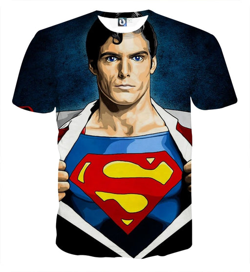 Superman Wide Chest Cool Comic Design Full Print T-Shirt