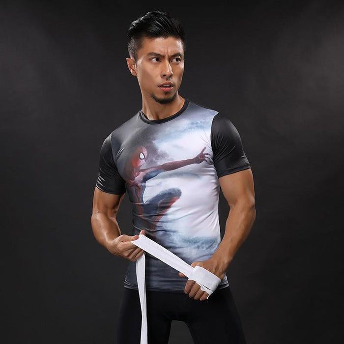 The Amazing Spiderman Compression Short Sleeves Workout Men T-shirt