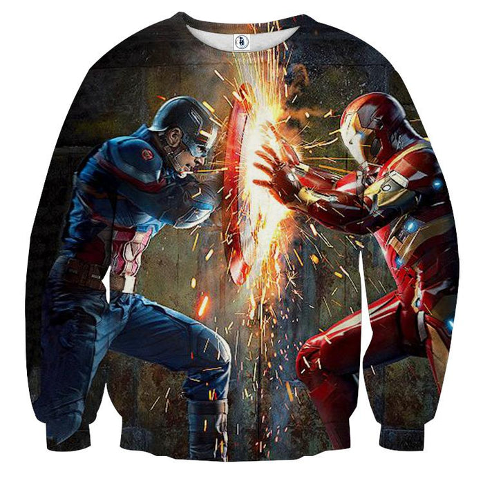 The Avengers Iron Man Fighting Captain America 3D Sweatshirt