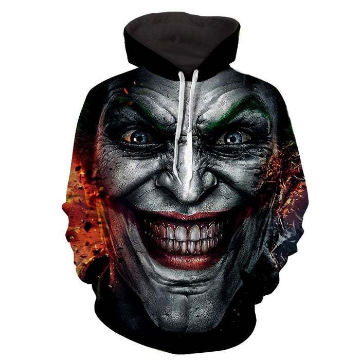 The Crazy Ridiculous Joker Face Design Full Print Hoodie