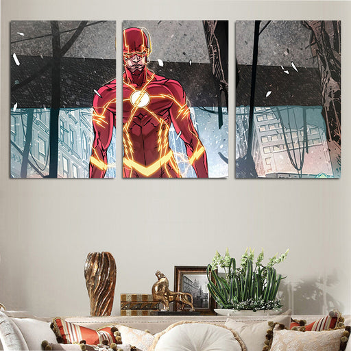 The Flash Comic Style Art Design 3pcs Wall Art Canvas Print