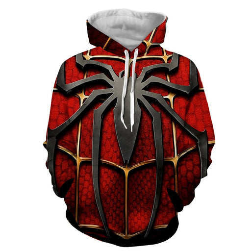 The Itsy Bitsy Spider Design Red Full Print Dope Hoodie